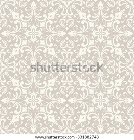 seamless damask pattern in beige. Tile - stock vector