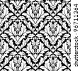 Seamless damask pattern in white and black colors for background design. Jpeg version also available in gallery - stock vector