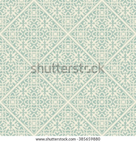 seamless damask pattern on texture background. Tile - stock vector