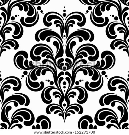 seamless damask pattern on white background - stock vector