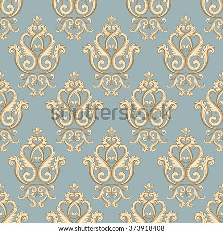 Seamless damask pattern. Pastel colored texture in vintage rich royal style. Vector illustration. Can use as background for birthday card, wedding invitation, textile print, wallpapers, wrapping paper - stock vector