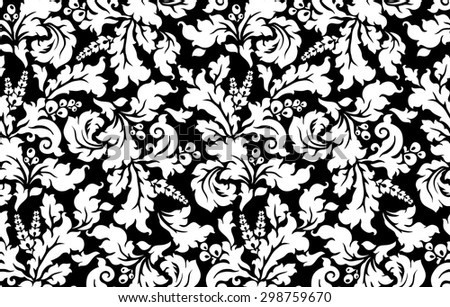 Seamless damask pattern with curly leafs. Black and white - stock vector