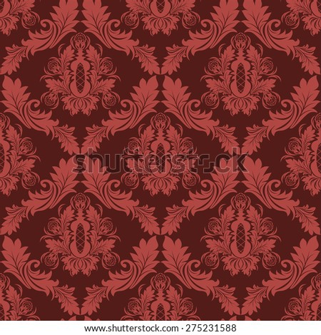 Seamless damask retro Wallpaper in red Colors