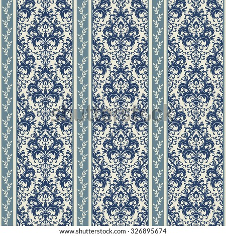 seamless damask wallpaper in dark blue and beige - stock vector
