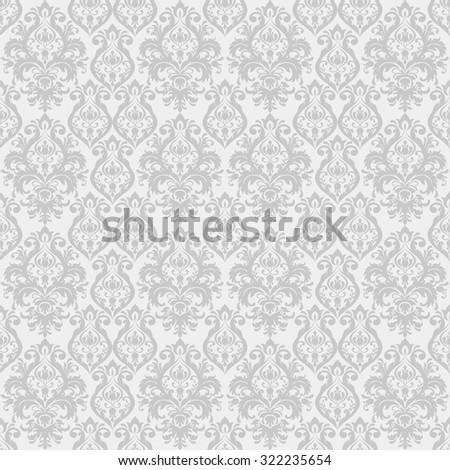 seamless damask wallpaper in grey - stock vector