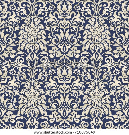 Seamless Damask Wallpaper Vintage Pattern In Victorian Style Hand Drawn Floral