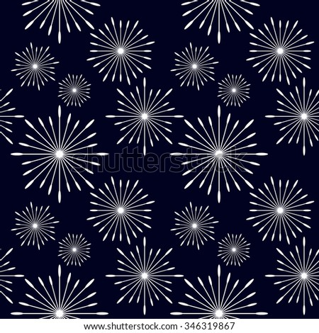 Seamless dandelions floral vector pattern. Retro textile collection. White on dark blue. Backgrounds & textures shop.
