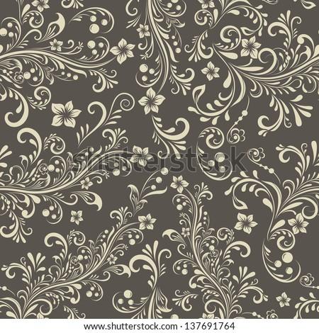 Seamless dark beige floral vintage vector pattern. - stock vector