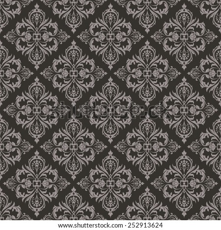 Seamless dark brown floral vintage vector background. - stock vector