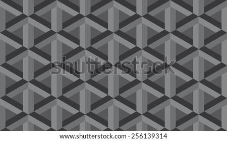 Seamless dark gray retro op art hex construction optical illusion vector pattern - stock vector