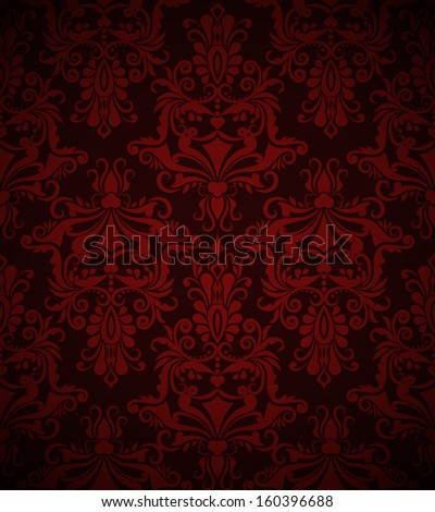 Seamless dark red vintage vector wallpaper pattern.