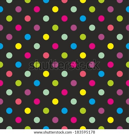 Seamless dark vector pattern or texture with colorful green, yellow, blue, pink and violet polka dots on black background. For desktop wallpaper or kids website design. - stock vector