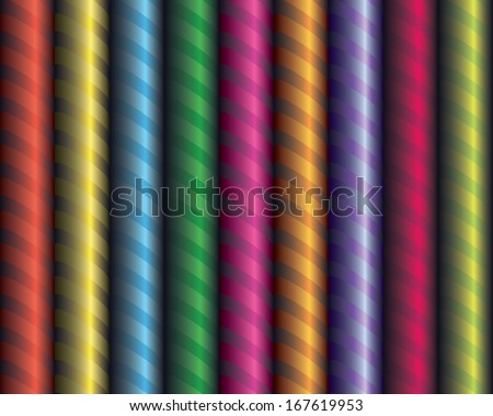 Seamless decor. Decorative colored ribbon wrapped around the tube. Volume effect.