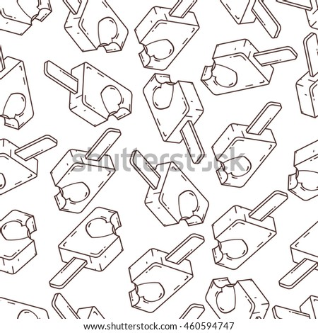 Seamless decor pattern of ice cream on white background. Smooth line style. Texture coloring book.