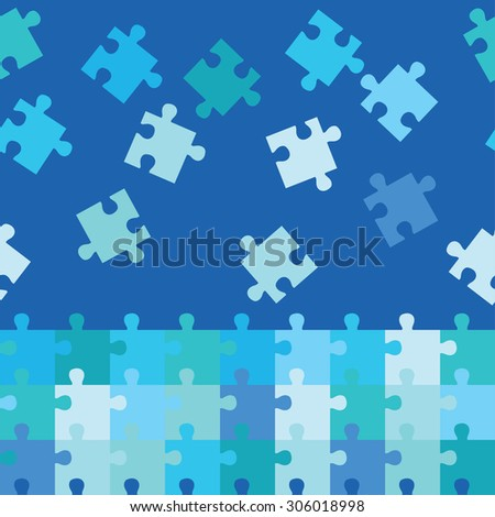 Seamless decorative background with puzzles