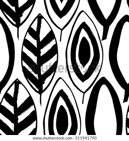 Seamless decorative black and white pattern with ink drawn leaves. Vector texture in grunge style - stock vector