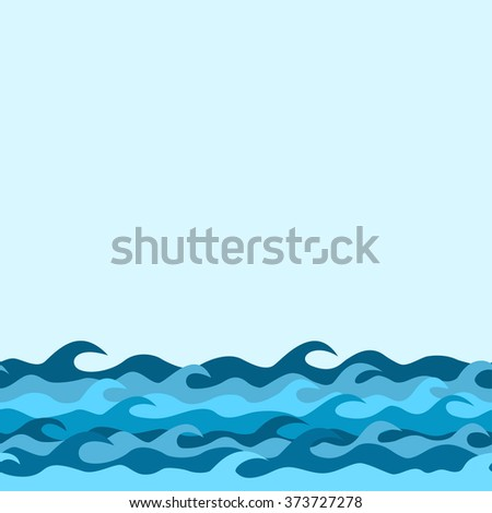 seamless decorative border from sea waves  - stock vector