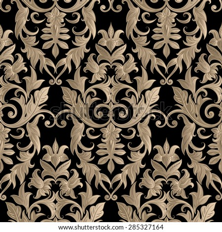 Seamless decorative damask floral pattern. Royal wallpapers. Floral background best for invitations or announcements. Elegant luxury texture for wallpapers, backgrounds and page fill. - stock vector