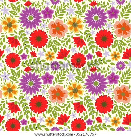 Seamless decorative floral multicolored pattern