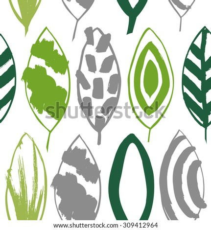 Seamless decorative green pattern with ink drawn leaves. Vector texture in grunge style 2 - stock vector