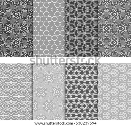 Seamless Decorative Modern Geometric Patterns set. Vector illustration. Texture for design wallpaper, pattern fills, web page, banner, flyer.