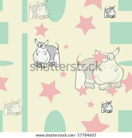 seamless decorative paper with hippos - stock vector
