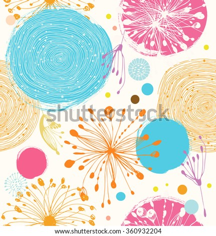 Seamless decorative pattern with abstract details. Cute vector background - stock vector