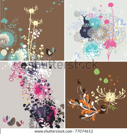 Seamless decorative pattern with blooming floral motive and with bird - stock vector