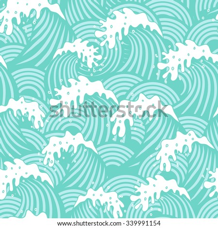 Seamless decorative pattern with cute waves - stock vector