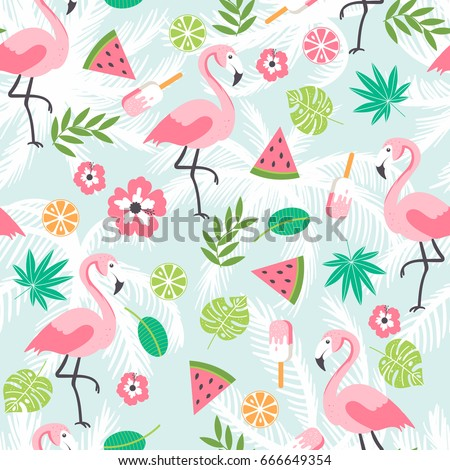 Seamless decorative pattern with flamingo, plants and ice cream on a blue with palm leaves background. Vector illustration of a funny summer pattern.