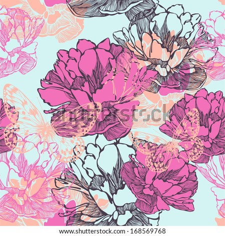 Seamless decorative pattern with tulips and butterflies. Vector illustration. - stock vector