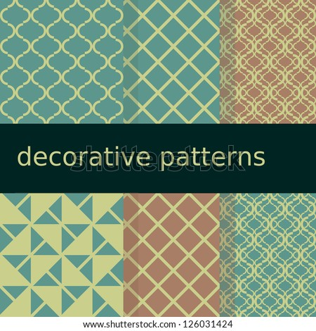 Seamless decorative patterns pastel colors - stock vector