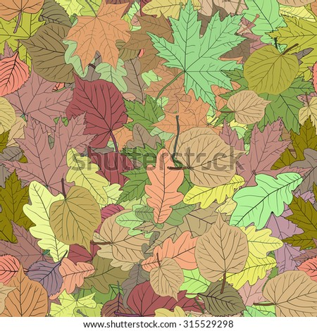 Seamless decorative template texture with green and beige leaves. Seamless stylized leaf pattern. Vector 1 - stock vector