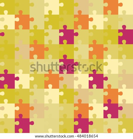 Seamless decorative vector background with puzzles. Print. Repeating background. Cloth design, wallpaper.