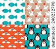 Seamless deep sea kids retro animals penguins fish and circus seal rainbow illustration background pattern set in vector - stock vector