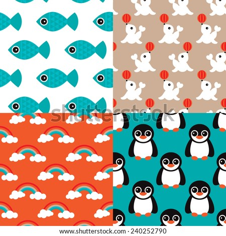 Seamless deep sea kids retro animals penguins fish and circus seal rainbow illustration background pattern set in vector