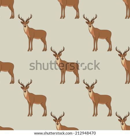 Seamless deer background - stock vector
