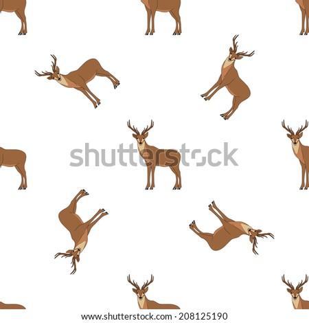Seamless deer pattern - stock vector
