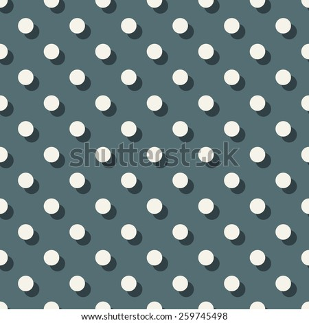Seamless denim blue polka dot with offset shadow pattern vector - stock vector