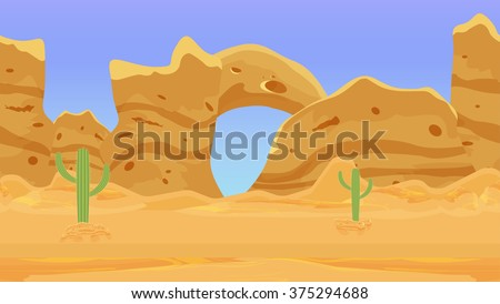 Seamless desert landscape, wilderness background, ready parallax. Cactus and nature, interface vector illustration. - stock vector