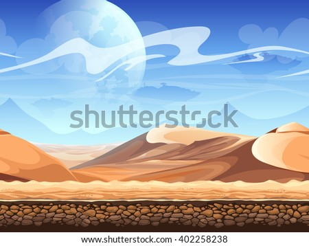 Seamless desert with silhouettes of spaceships. For newspapers, magazines, web design, websites, printing - stock vector
