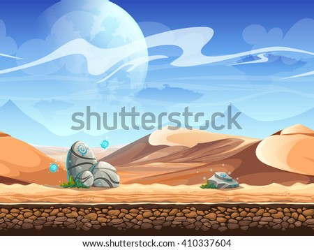 Seamless desert with stones and silhouettes of spaceships. For newspapers, magazines, web design, websites, printing - stock vector