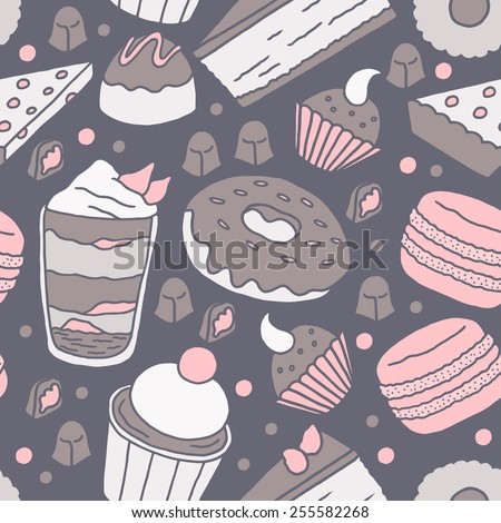 Seamless dessert pattern with hand drawn dessert illustrations in pink, brown, and dark blue. - stock vector