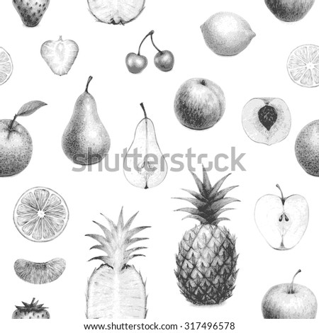seamless detailed monochrome set of hand drawn fruits - stock vector