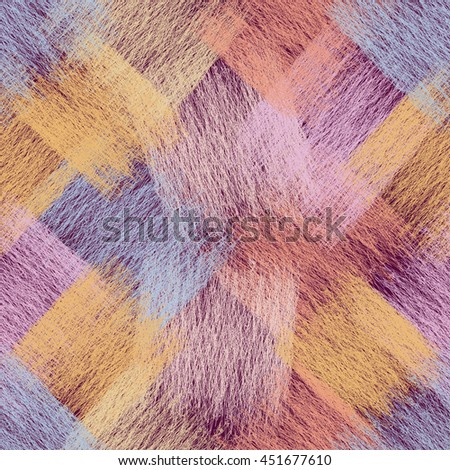 Seamless diagonal pattern with grunge striped wavy lace square elements in pastel colors - stock vector