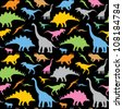 Seamless dinosaur pattern - vector illustration - stock vector