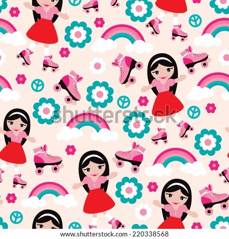 Seamless disco girl design with seamless rainbow flowers and roller skates background pattern in vector - stock vector