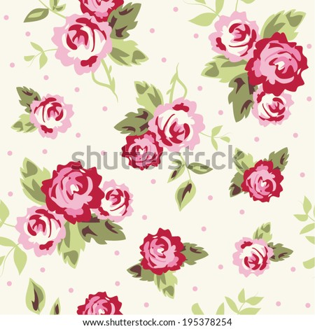 Seamless Ditsy Dot Rose  - stock vector