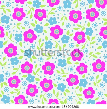Seamless Ditsy Flower Pattern - stock vector