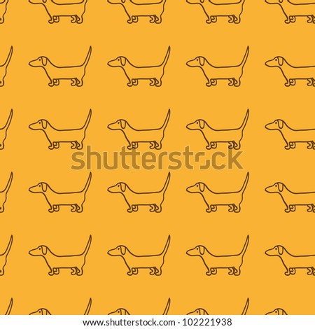 Seamless dog pattern with repeating cute brown dachshund silhouette - stock vector